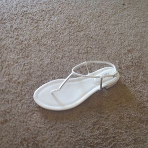 FRANCO SARTO Leather sz 7.5 M White Thong Sandal